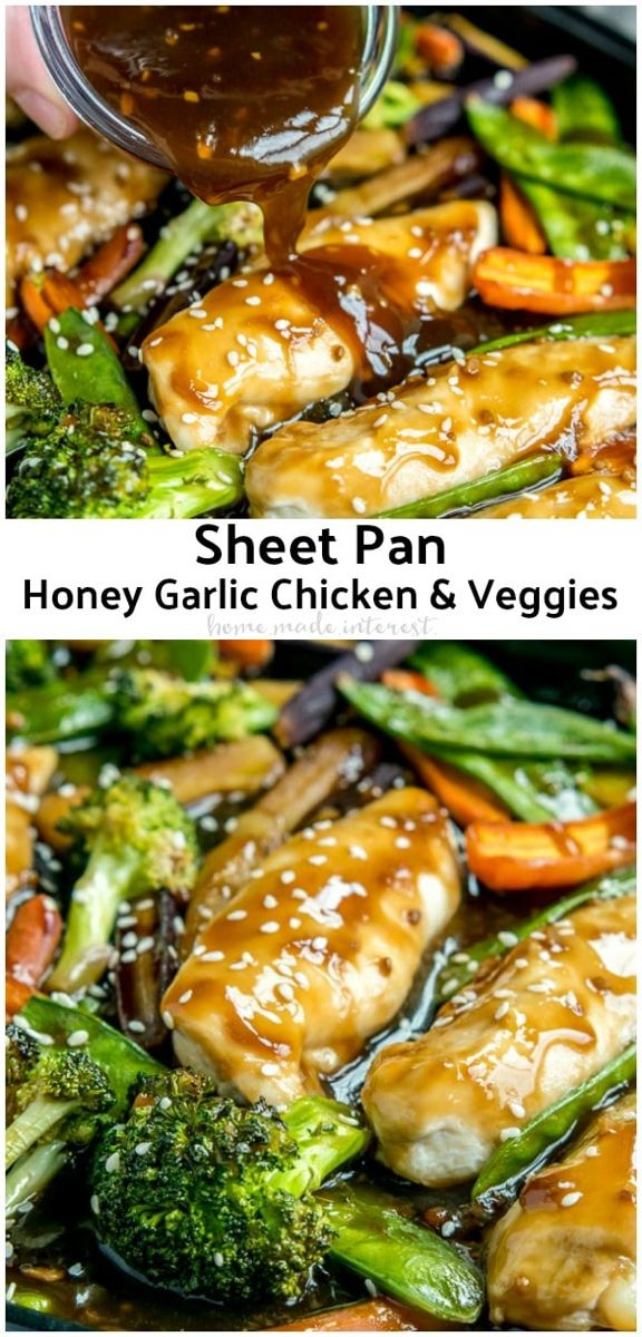 Sheet Pan Honey Garlic Chicken and Veggies #onepandinnerschicken
