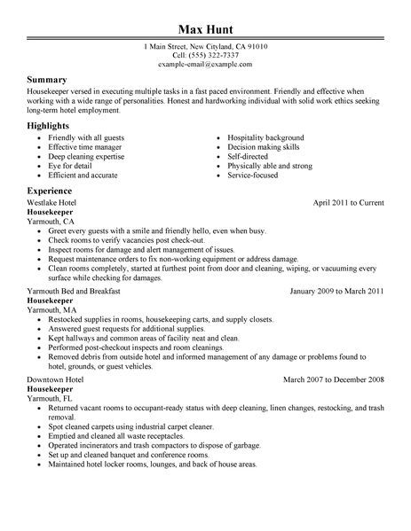 Housekeeper Resume Example Hotel Amp Hospitality Sample Resumes Housekeeping Examples Samples