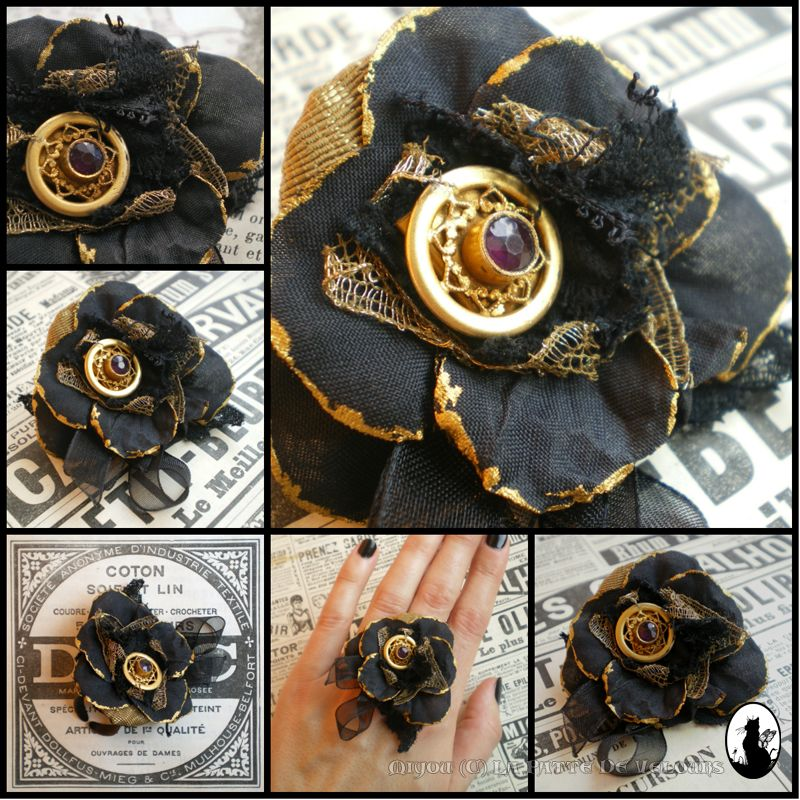 Black and gold ring with a tiny antic Amethyst by ~Miyou-illustration on deviantART