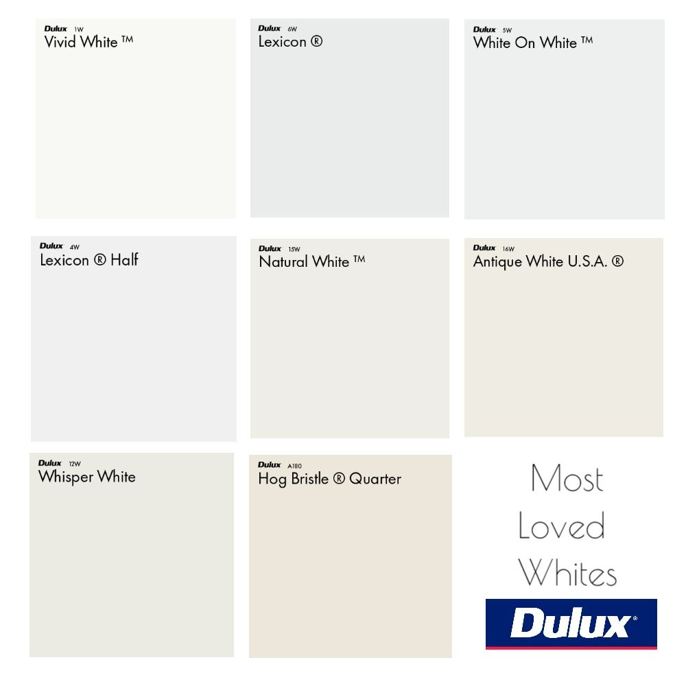 Dulux Most Loved White Colour Palette Mood Board Dulux White