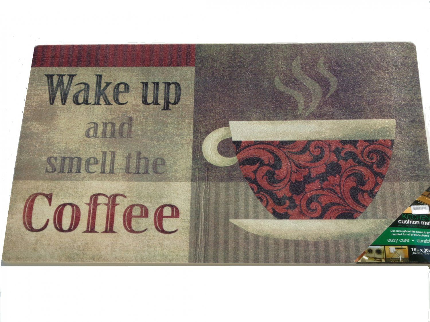 Wake Up And Smell The Coffee Kitchen Rug Cushion Mat 19 95