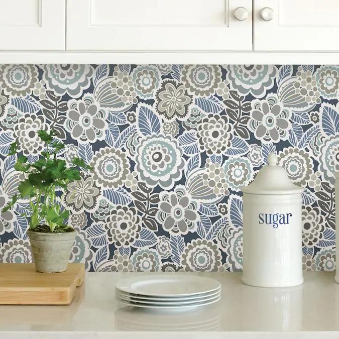Nuwallpaper 30 75 Sq Ft Blue Vinyl Floral Self Adhesive Peel And Stick Wallpaper Lowes Com Peel And Stick Wallpaper Wallpaper Backsplash Kitchen Kitchen Wallpaper