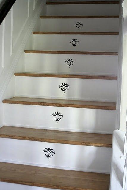 stenciled stair risers stenciled risers handpainted. Black Bedroom Furniture Sets. Home Design Ideas