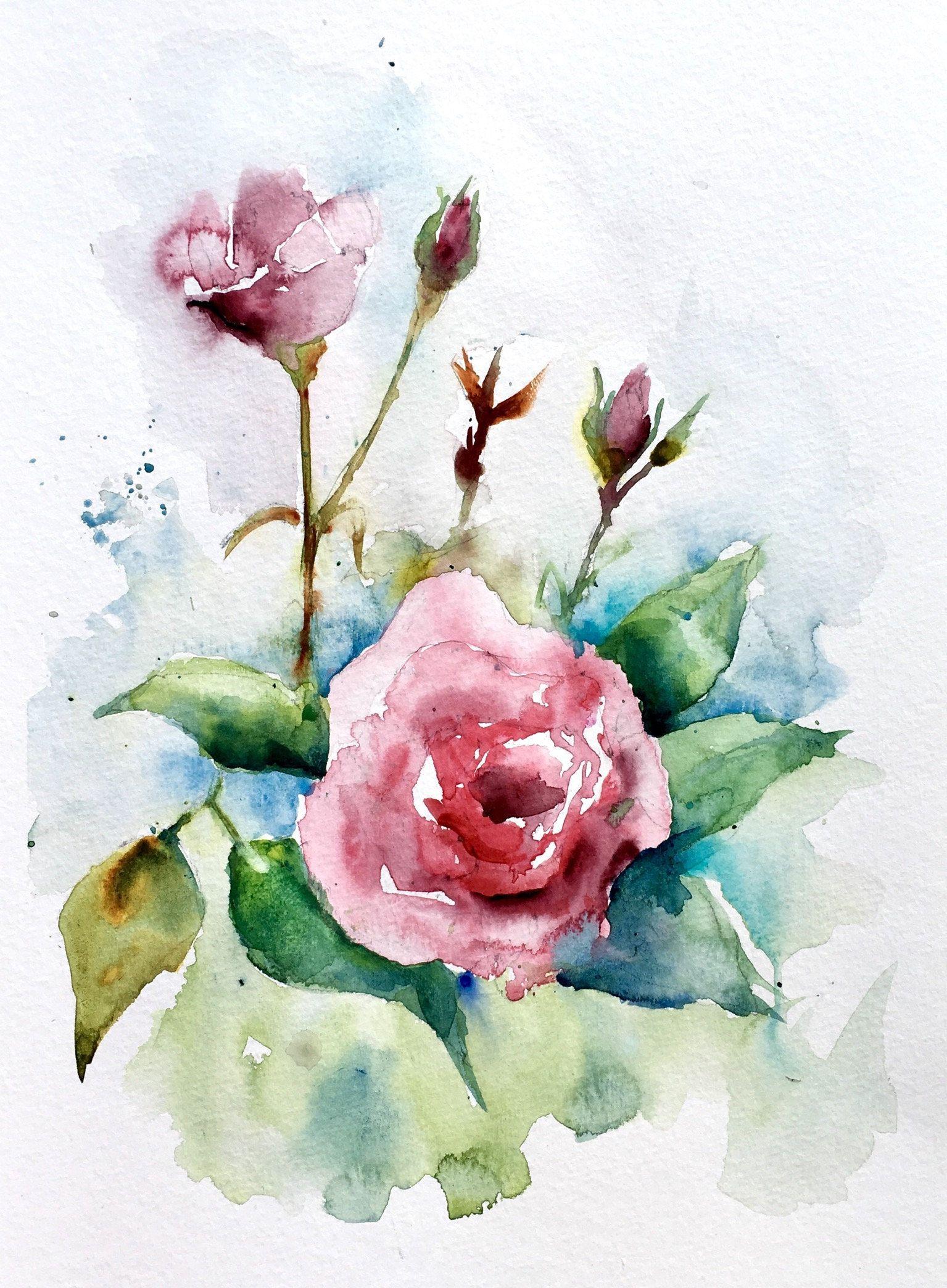 Aquarelle Originale Roses Fleurs Rouge Ete Campagne Roses