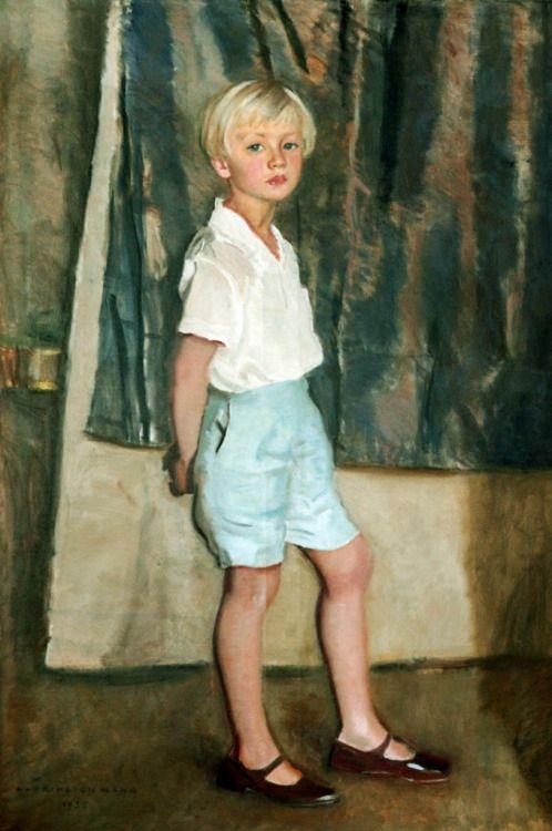 Harrington Mann (Scottish, 1864-1937) Portrait of a Younger Boy