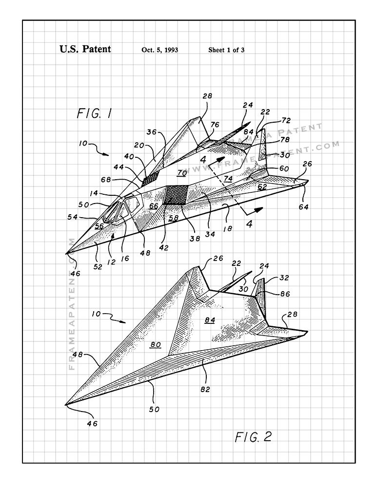 F 117 Stealth Airplane Patent Print