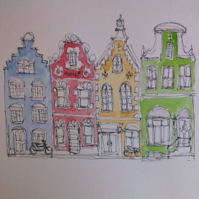 George with ears: Dutch houses line drawing with watercolour wash. Playing a bit.