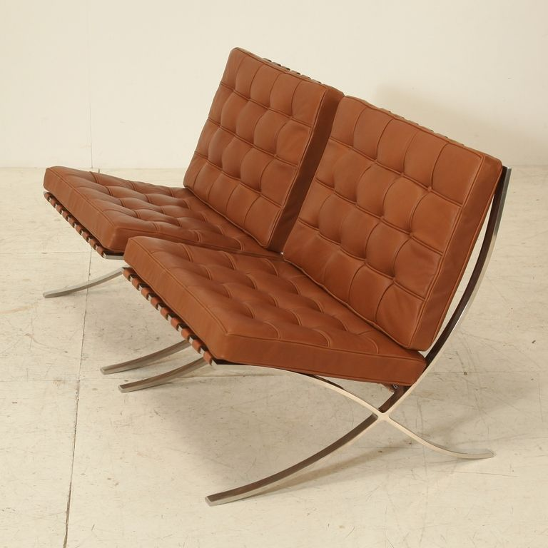 pair original barcelona chairs, 1st knoll edition, 1950s | from a