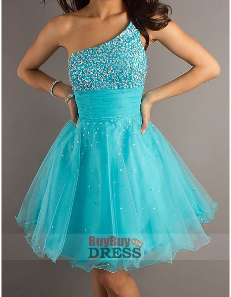 2012 Blue Short Homecoming Dresses, One Shoulder Prom Dresses for Homecoming - US$ 129.95 | BuyBuyDress.com