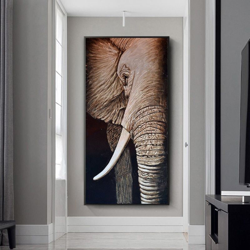 Black And White Art Canvas Painting Animal Posters And Prints African Elephant Wall Pictures For Living Room Cuadros Home Decor Wall Art Decor Living Room Animal Paintings Canvas Art Painting