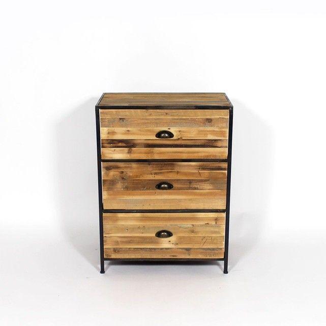Commode bois métal 3 tiroirs kc20