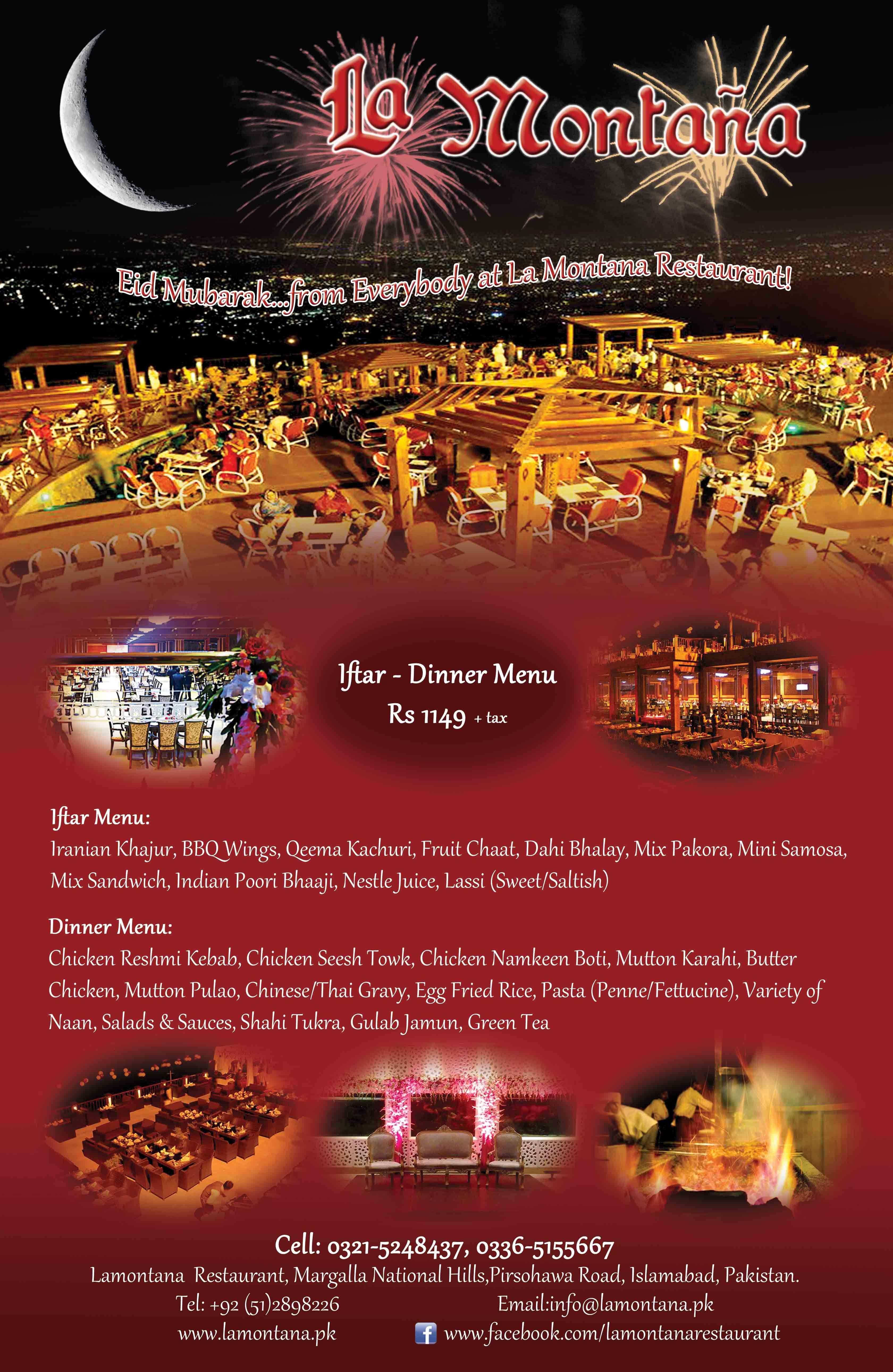 La Montana Restaurant Pir Sohawa Islamabad Iftar And Dinner Menu Dinner Menu Iftar Reshmi Kebab