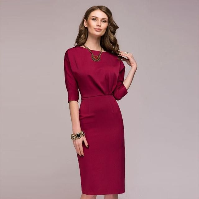 d966e3d415e Women Dress 2018 New Fashion Half Sleeve Bodycon Elegant Office Dress  Summer Knee-Length For Female Party Dresses