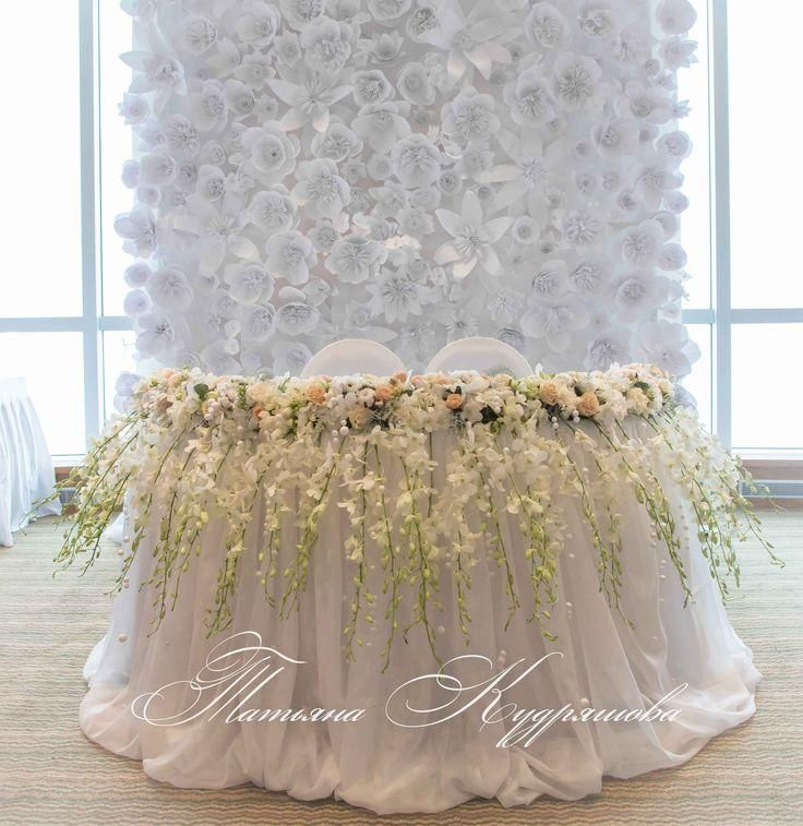 sweetheart table with paper flower wall backdrop