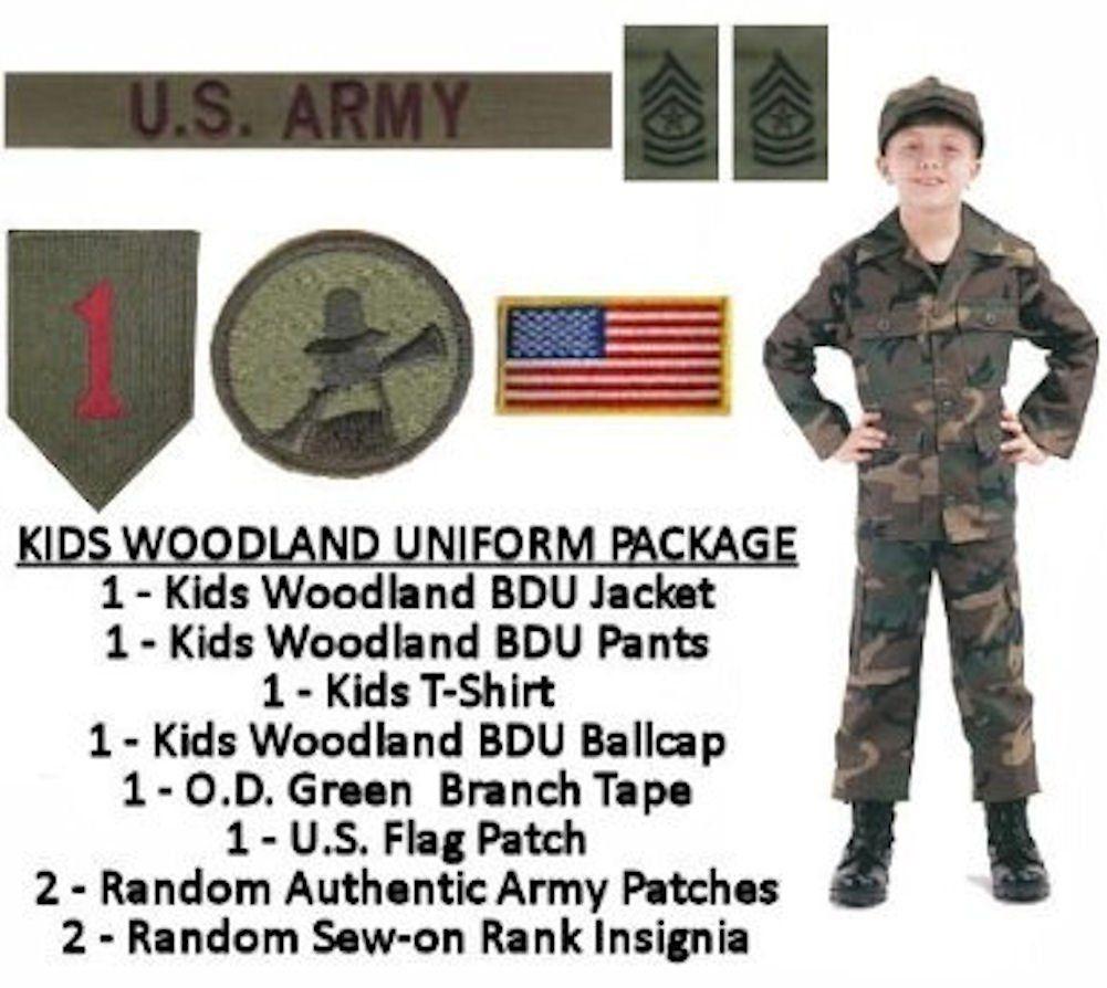 Kids Woodland BDU Military Uniform Army Costume Medium