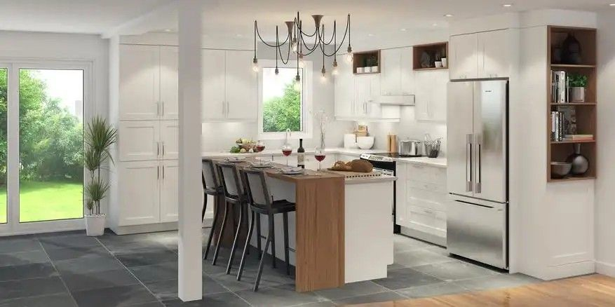 Pin By Louise Mayrand On Reno Cuisine Contemporary Kitchen White Kitchen Cabinets Kitchen