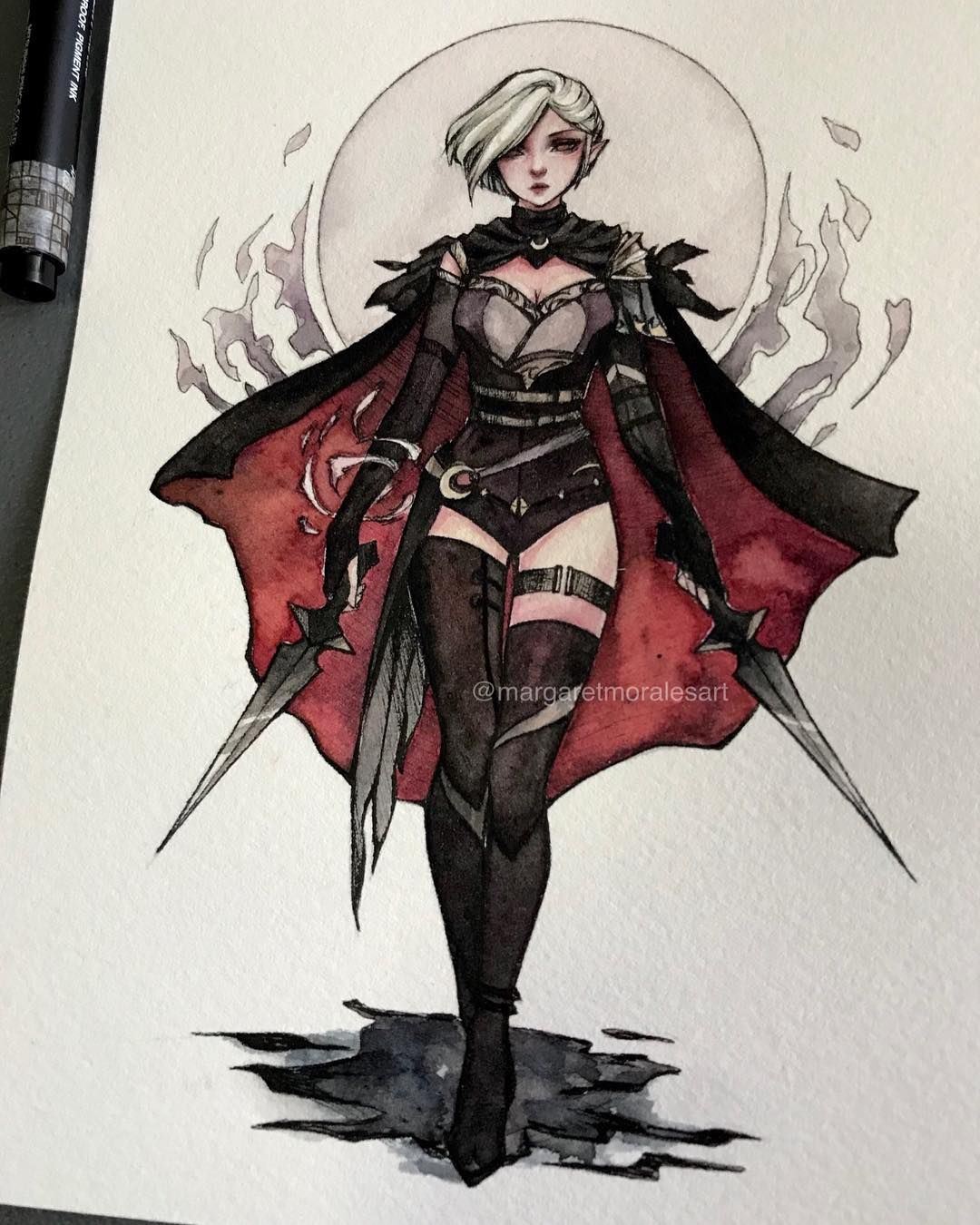 Watercolor Artist Margaret Morales Watercolor Artwoonz Female Assassin Fantasy Drawings Anime Outfits