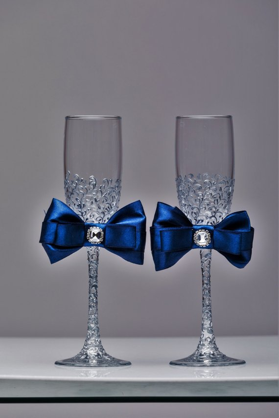 Personalized Wedding Flutes Silver And Navy Blue Wedding Champagne