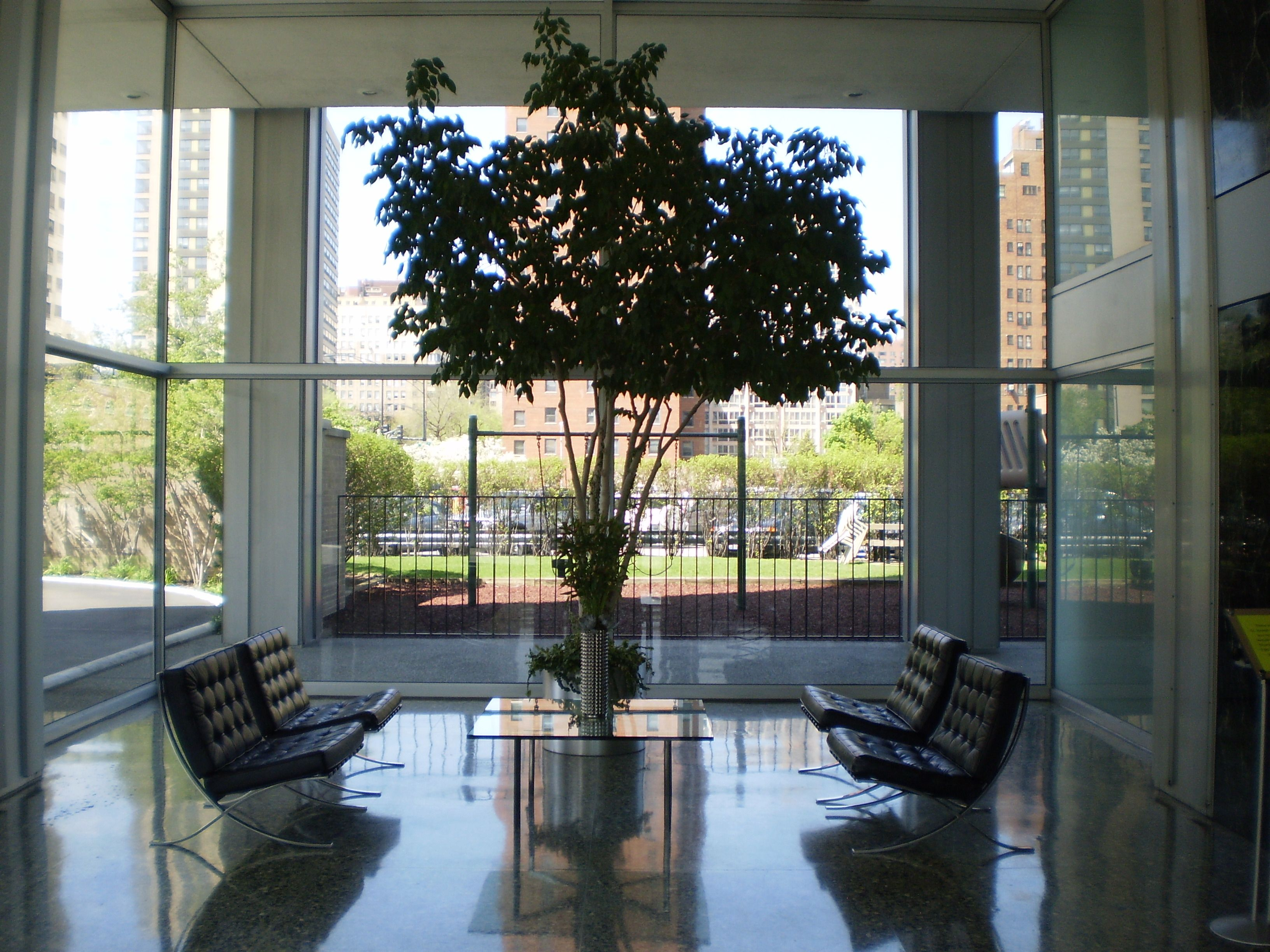 Barcelona chairs lobby - Barcelona Chairs In Lobby Of Mies Apartment Building In Chicago