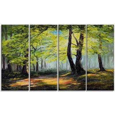 Designart Green Autumn Forest Landscape 4 Piece Painting Print On Wrapped Canvas Set Landscape Canvas Art Landscape Canvas Forest Landscape