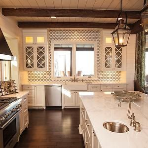 Geometric Tile Backsplash, Cottage, kitchen, Southern Living