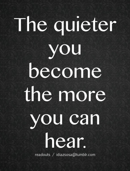 Be still -shhhhhh.  I came from a family of TALKERS and Non-listeners, so I need this reminder.