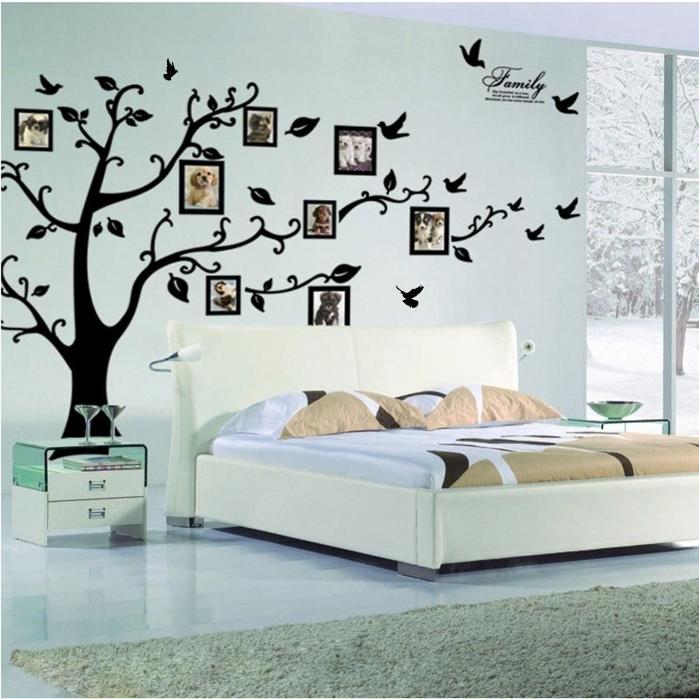 Photo of Free Shipping:Large 200*250Cm/79*99in Black 3D DIY Photo Tree PVC Wall Decals/Adhesive Family Wall Stickers Mural Art Home Decor