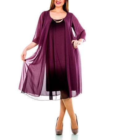 Another great find on #zulily! Plum Drape Scoop Neck Dress - Plus by La Mouette #zulilyfinds