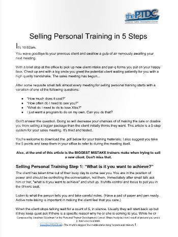 Stop Losing Personal Training Sales Follow These Five Steps To