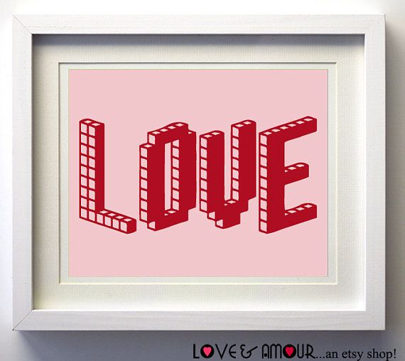 Love Pink Red Art Print 11x14 by LoveandAmour on Etsy, $19.00