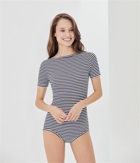 Body femme en coton seconde peau Ce body femme est confectionné en côte 2x2  extra fine à rayure colette a65711be762