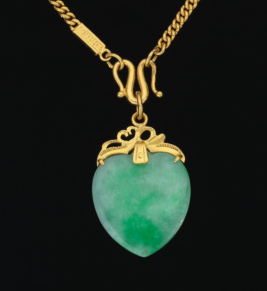 Chinese 24k Gold Chain and Jade Pendant detail Gems Jewelry