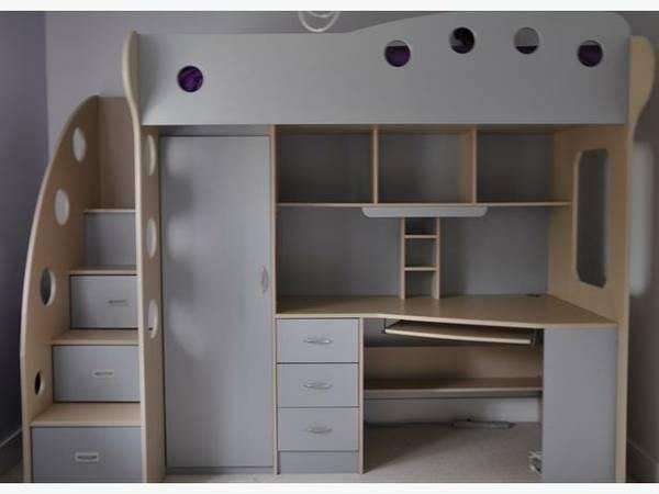 All In One Loft Bed Has Drawers In Steps Small Closet Computer