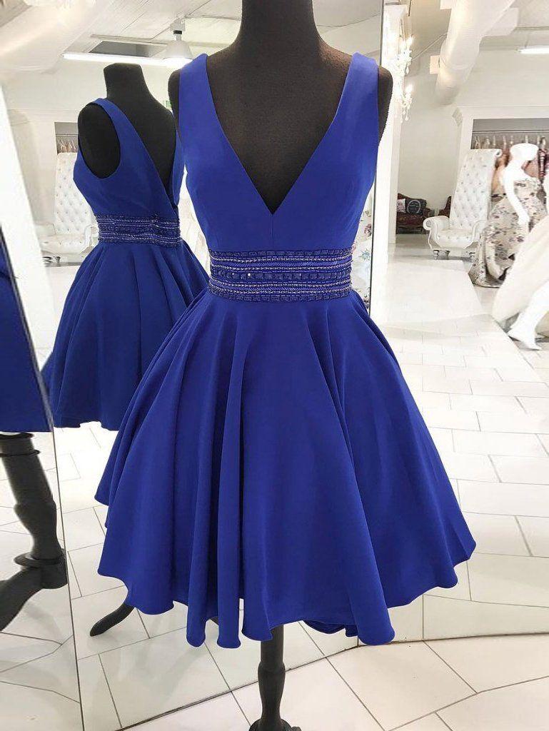 Aline v neck short prom dress cheap royal blue homecoming dress