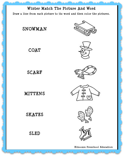 math worksheet : winter match the words to pictures! match the words to pictures  : Matching Worksheets For Kindergarten