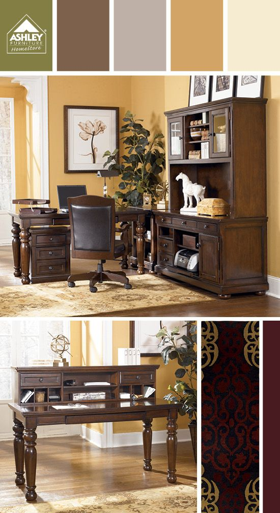Dark Chocolate Gold Tones For The Office Porter Home Office Ashley Furniture Homestore Want To Get Updates On New Pr Home Office Design Home Furniture
