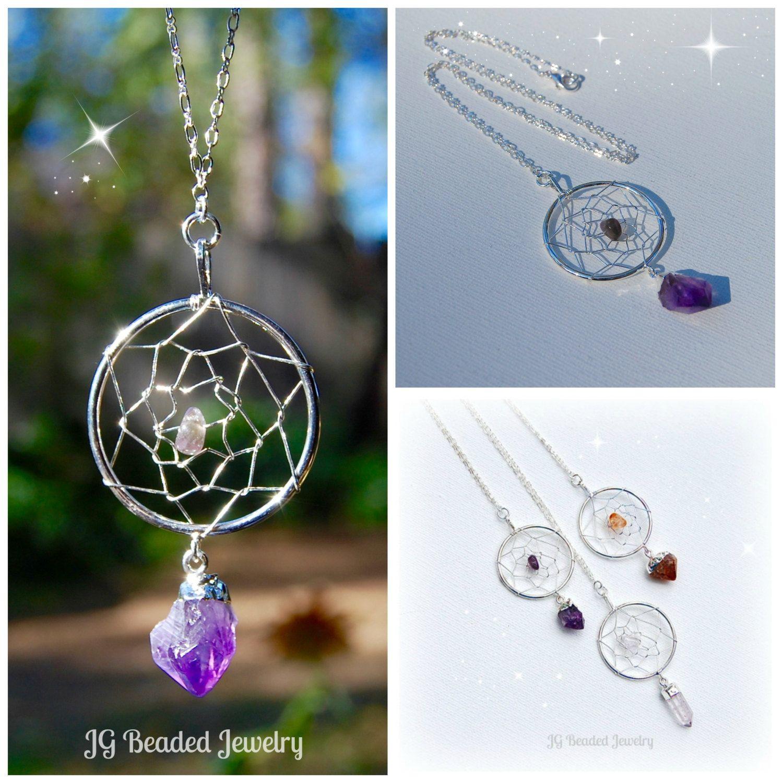 Long Amethyst Crystal Dreamcatcher Silver by JGBeadedJewelry