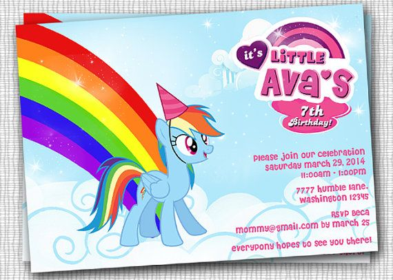 Rainbow Dash Invitation PRINTABLE By PaperTinker On Etsy 1000 My Little Pony Birthday Party