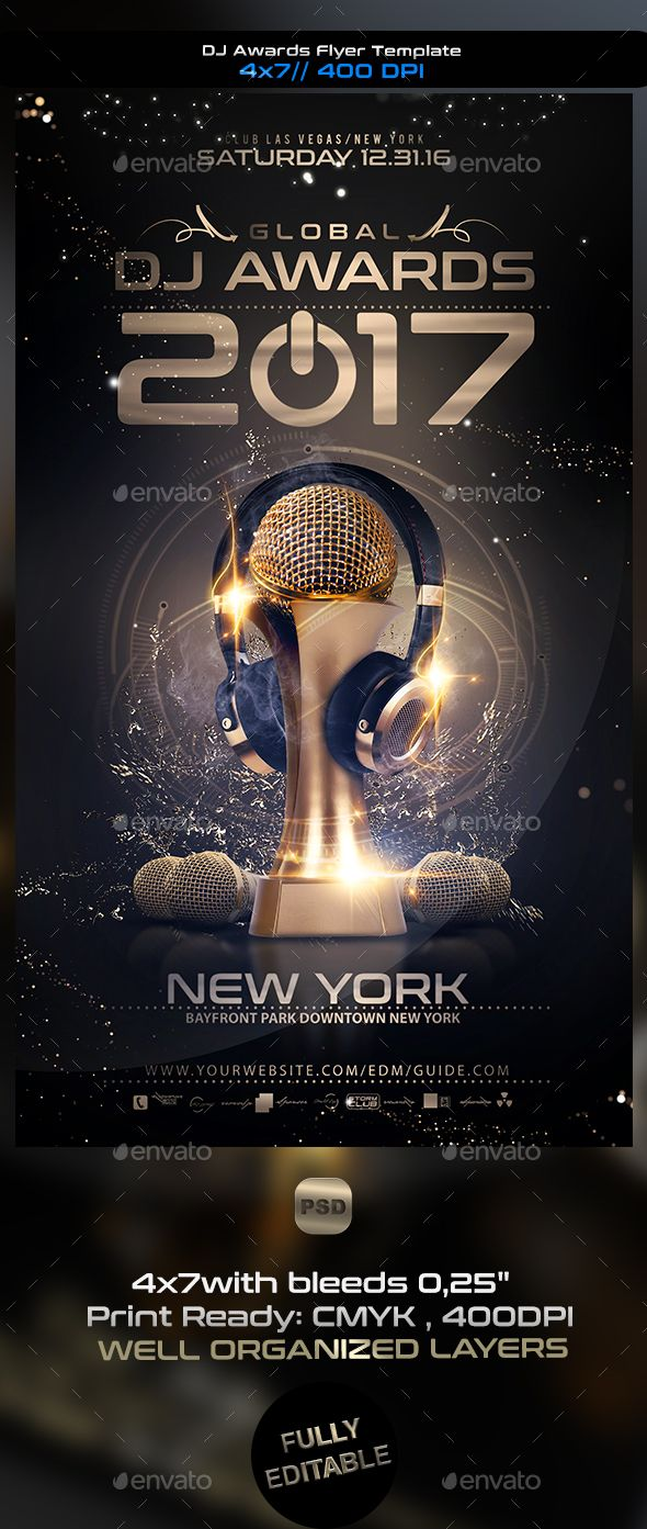 DJ Awards Flyer Template PSD. Download here: https://graphicriver ...