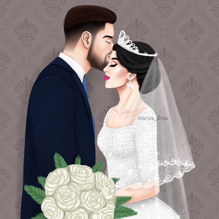عروسين Marwa Draw Sketchbook Digitalart Wedding Drawing Cute Couple Art Cartoon Girl Images