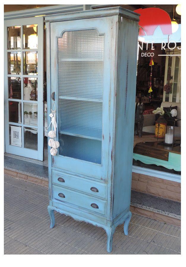Vajillero despensa puerta con vidrio estantes interiores 2 cajones con herrajes de fundici n - Herrajes muebles antiguos ...