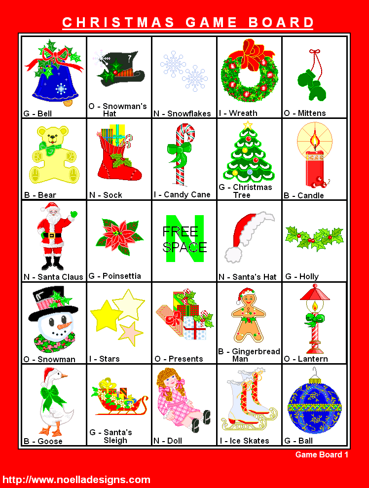 Christmas Bingo 8 cards at this site CBgameboard01.png