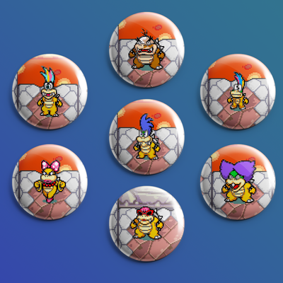 Mario Luigi Superstar Saga Koopalings Buttons Set From Meow
