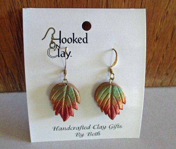 Fall colored leaf earring, in my etsy store at the time of this entry.