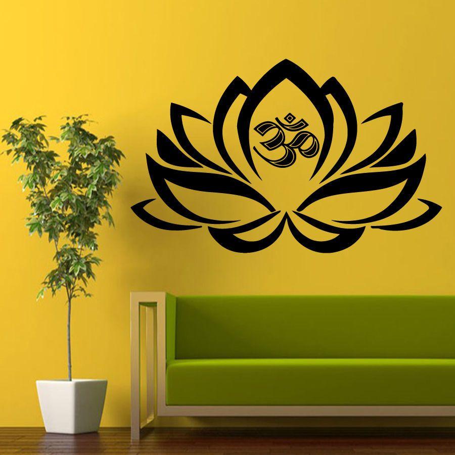 Wall Decals Yoga Decal Vinyl Sticker Home Decor Lotus Flower Om ...