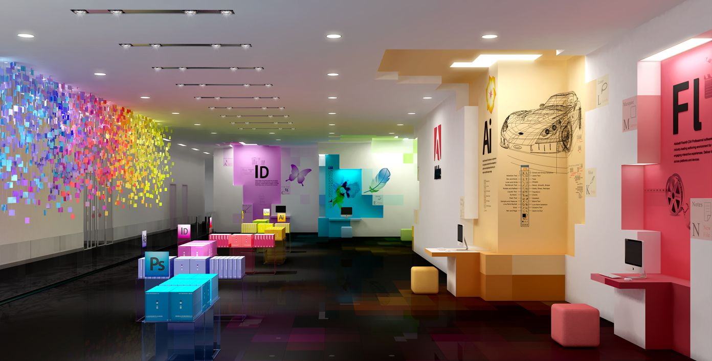 Awesome Rainbow Collor Colorful Office Interior Design Ideas