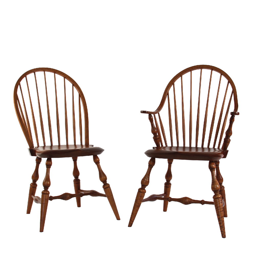 """* Our Most PopularStyle     * True 18th Century Proportions great for mixing with Antiques     * Signature WCW Hand-Sculpted Seat     * Swollen Spindles  Overall: 21""""W x """"D x 36.5""""H  • Seat: 16.5""""W x """"D x 17.5""""H  ALL PRICES INCLUDESHIPPING with"""