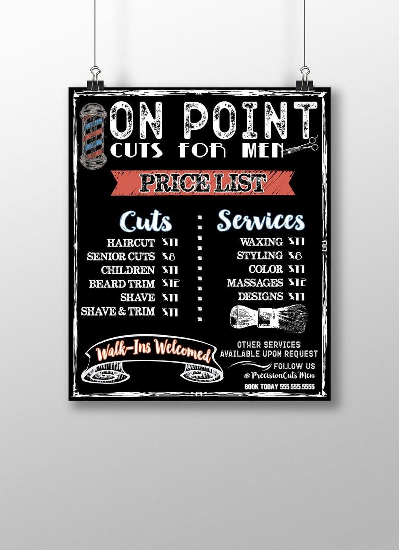 Custom Salon Menu Chalkboard business signs barbers price