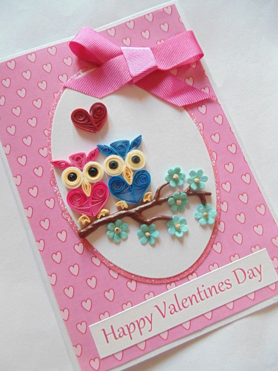 owls valentines card owl cards valentines cards quilled