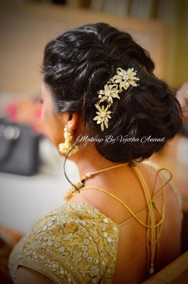 Indian Bride S Reception Hairstyle By Vejetha For Swank Studio Bridal Updo Romantic Messy Hair B Indian Hairstyles Indian Wedding Hairstyles Bridal Hair Buns